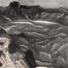 《苍山如海》115x115cm 意象系列 纸本水墨 2017年