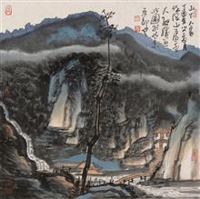《山下人家》68x68cm 写意山水 纸本水墨 2017年