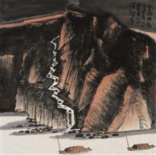 《山高水长·2》68x68cm 写意山水 纸本水墨 2017年