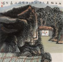 《秋山论道》68x68cm 写意山水 纸本水墨 2017年