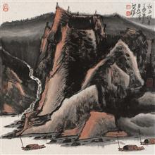 《秋山行舟》68x68cm 写意山水 纸本水墨 2017年