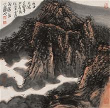 《秋山飞鸿》68x68cm 写意山水 纸本水墨 2017年