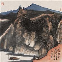 《秋江行舟》68x68cm 写意山水 纸本水墨 2017年
