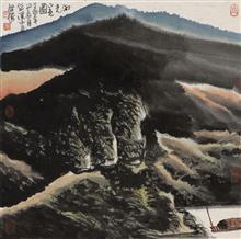 《河光山色图》68x68cm 写意山水 纸本水墨 2017年