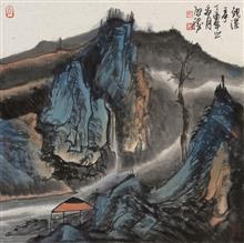 《观瀑》68x68cm 写意山水 纸本水墨 2017年
