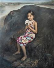 《后山的百合》120×150cm 人物 布面油画 2012年