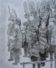 《苗寨清晨喜连天》195x240cm 纸本水墨 人物 2016年 国展作品