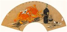 《岭南酒醇蟹更香》25x60cm 岩彩纸本设色 扇面 2016年
