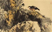 《幽鸣》68x45cm 四尺三开 写意花鸟 纸本设色 2005年