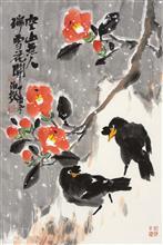 《瑞雪花开》68x45cm 四尺三开 写意花鸟 纸本设色 2017年