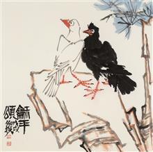 《和平颂》68x68cm 四尺斗方 写意花鸟 纸本设色 2018年
