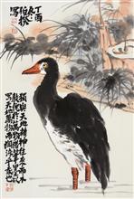 《独立秋江》68x45cm 四尺三开 写意花鸟 纸本设色 2017年