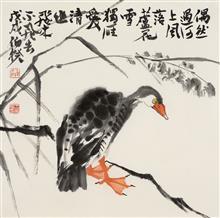 《独来独往》68x68cm 四尺斗方 写意花鸟 纸本设色 2018年