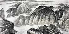 《山川竸(竞)秀图》写意山 纸本水墨设色 2018年