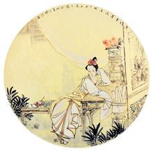 《春晓》60x60cm 纸本设色 写意人物 侍女图 团扇 2017年