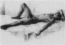 《男人体》素描1开 碳素笔 纸 2011年