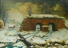 《小桥白马系列——冬》33x46cm 油彩 胶合板 1994年