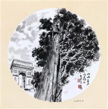 《意大利·美第齐·里卡迪宫的柏树》33×33cm 纸本水墨 团扇 写意欧洲风情 2018年08月17日