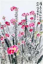 《台上花开又一季,台下风雨几时起·铁海棠(法国)》68×45cm 纸本水墨 写意欧洲风情 2018年