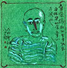 《自画像》40×40cm 餐巾纸画 写意欧洲风情 2018年8月
