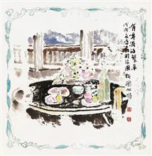 《有啤酒的餐桌》40×40cm 餐巾纸画 写意欧洲风情 2018年8月