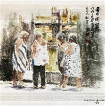 《昔日闺蜜》40×40cm 餐巾纸画 写意欧洲风情 2018年8月