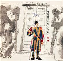 《梵蒂冈的卫兵》40×40cm 餐巾布画 2018年8月