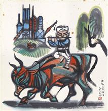 《牧牛图》48.8x50.3cm 纸本设色