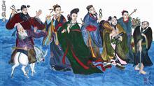 《八仙过海》138x69cm 四尺 纸本设色 道释画 人物
