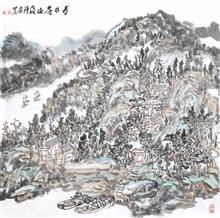 春日茶山(69x69cm)戊戌 陈安明2018年创作
