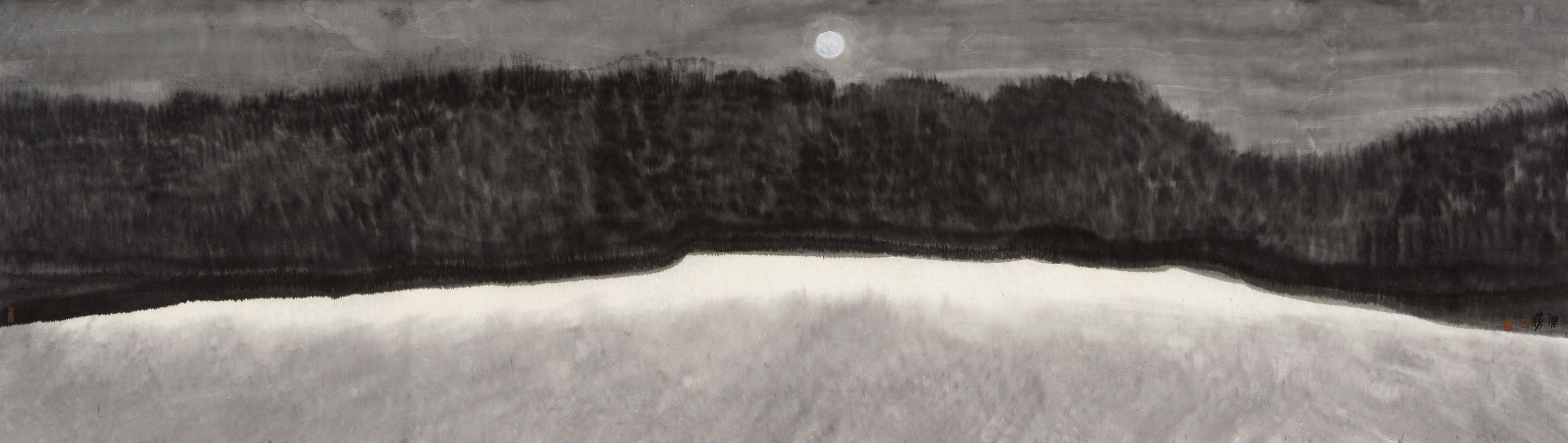 《雪月》65x215cm 意象系列 纸本水墨 2017年