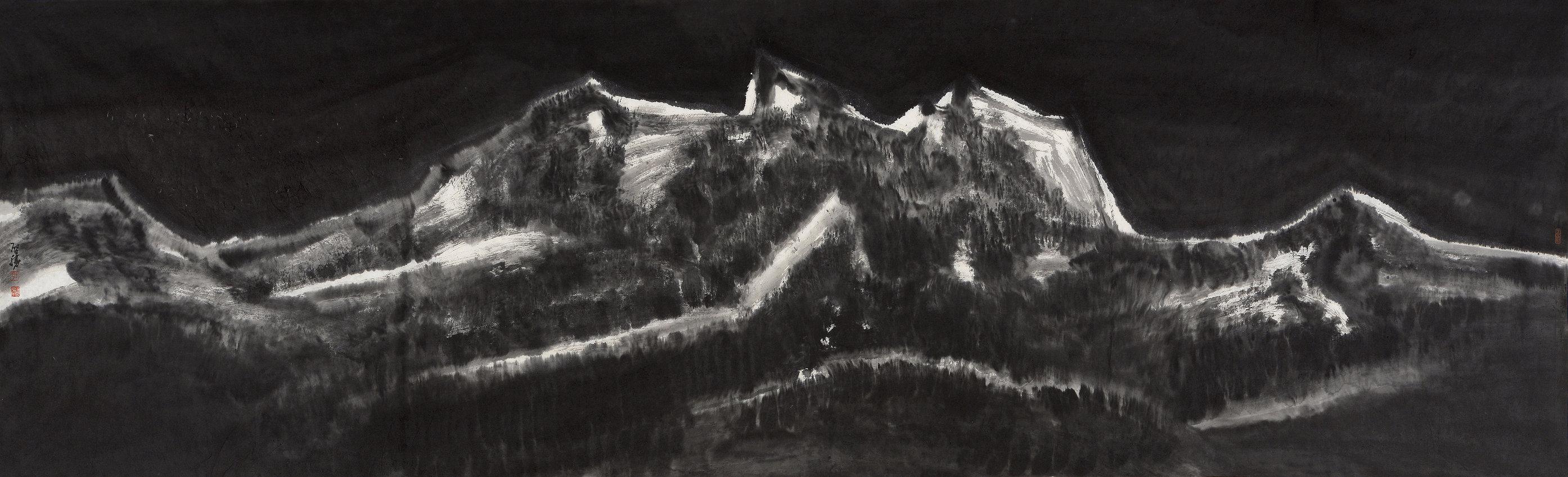 《夜山》65x215cm 意象系列 纸本水墨 2017年