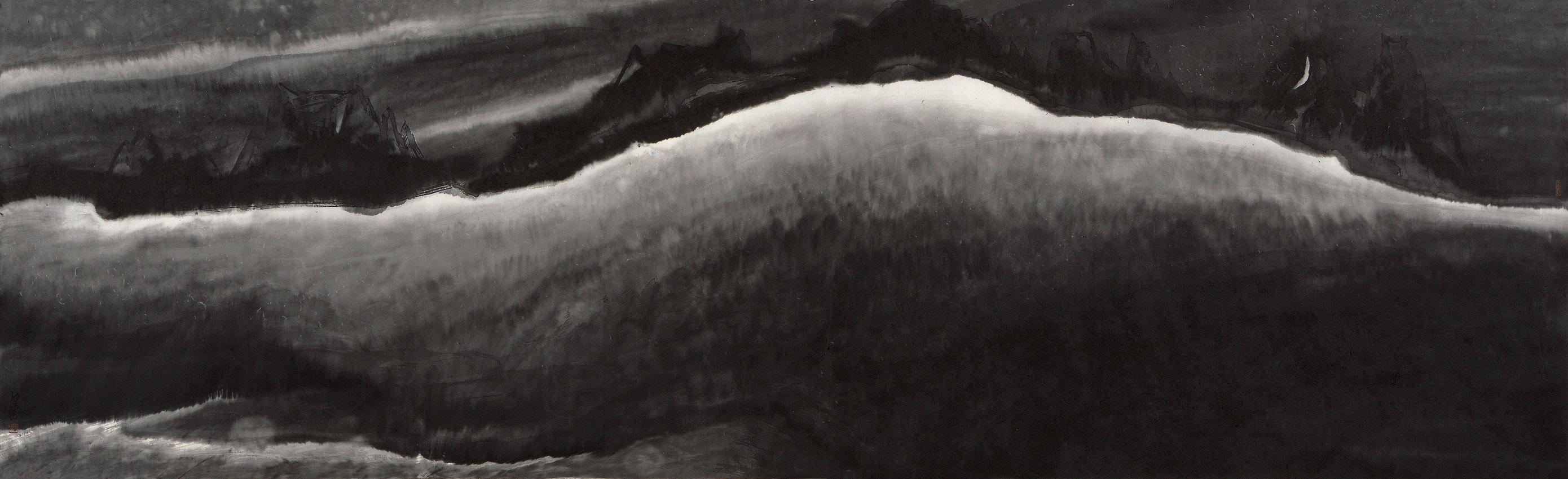 《沉睡的大地》65x215cm 意象系列 纸本水墨 2017年