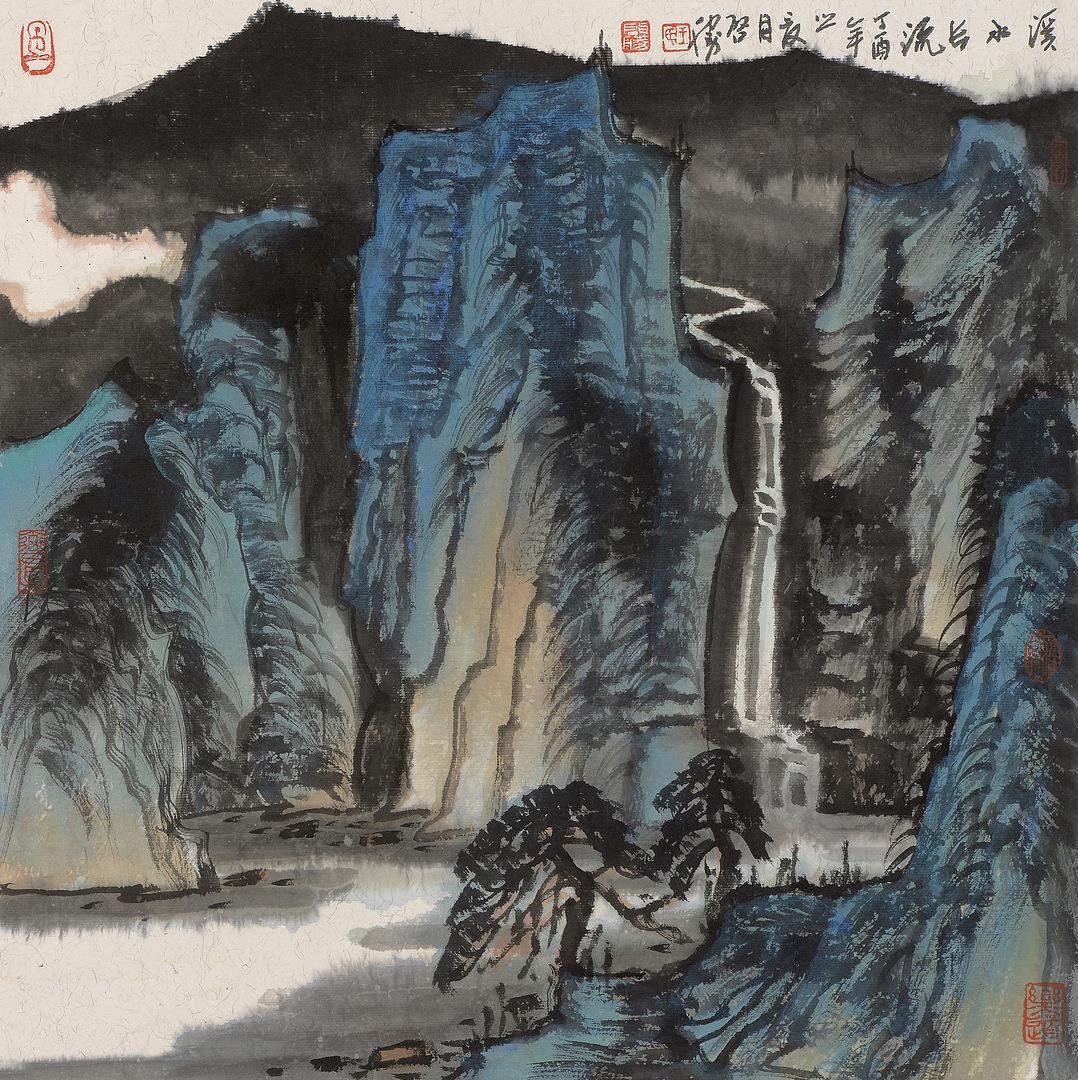 《溪水长流·2》68x68cm 写意山水 纸本水墨 2017年
