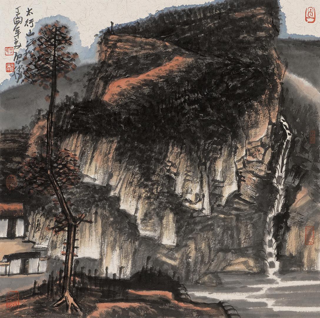 《太行山之松》68x68cm 写意山水 纸本水墨 2017年