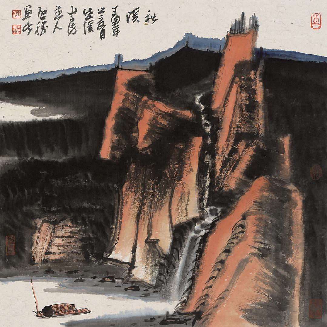 《秋溪》68x68cm 写意山水 纸本水墨 2017年