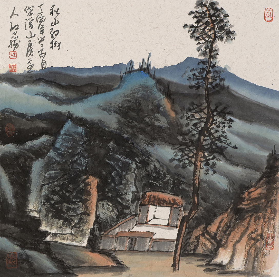 《秋山红树》68x68cm 写意山水 纸本水墨 2017年
