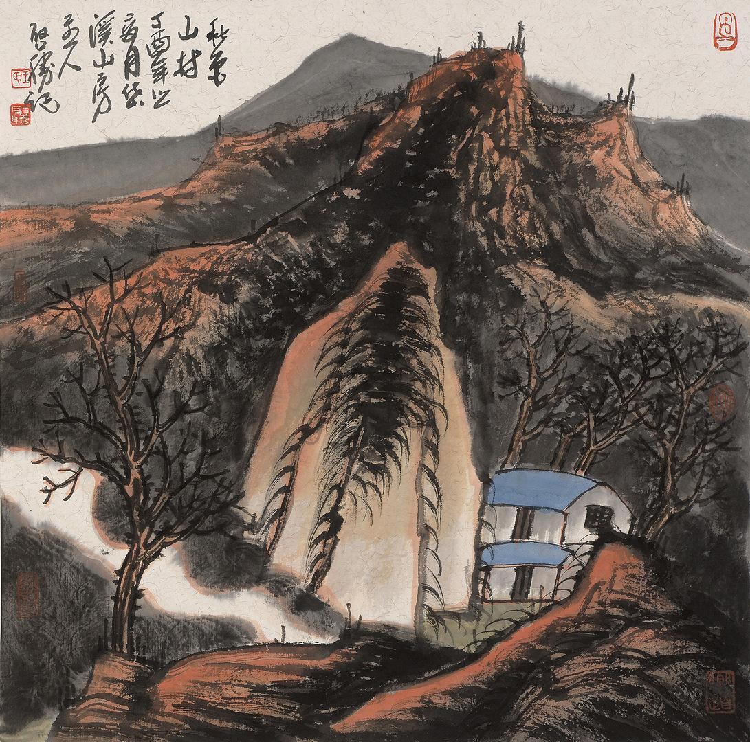 《秋色山村》68x68cm 写意山水 纸本水墨 2017年
