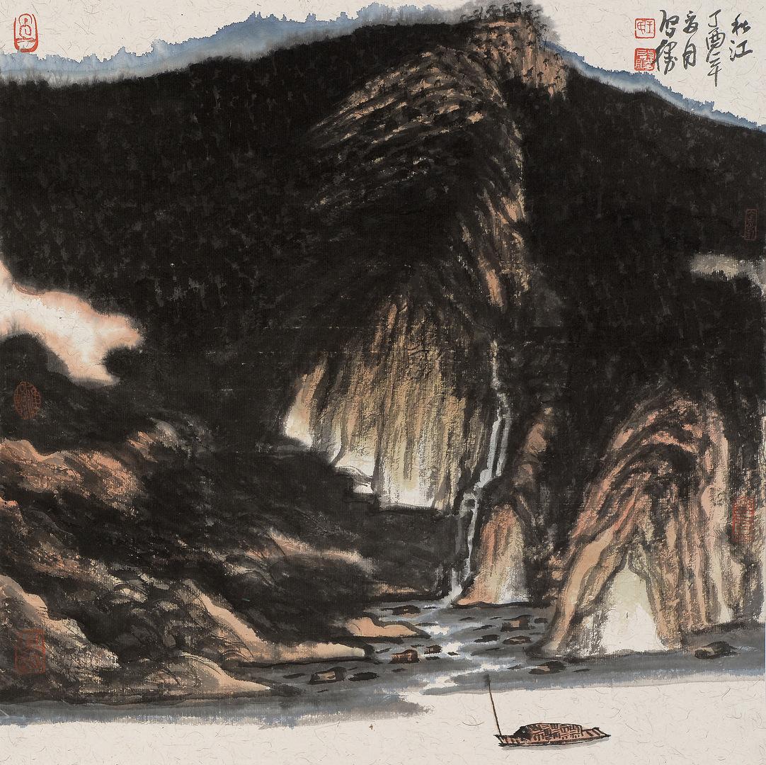 《秋江》68x68cm 写意山水 纸本水墨 2017年