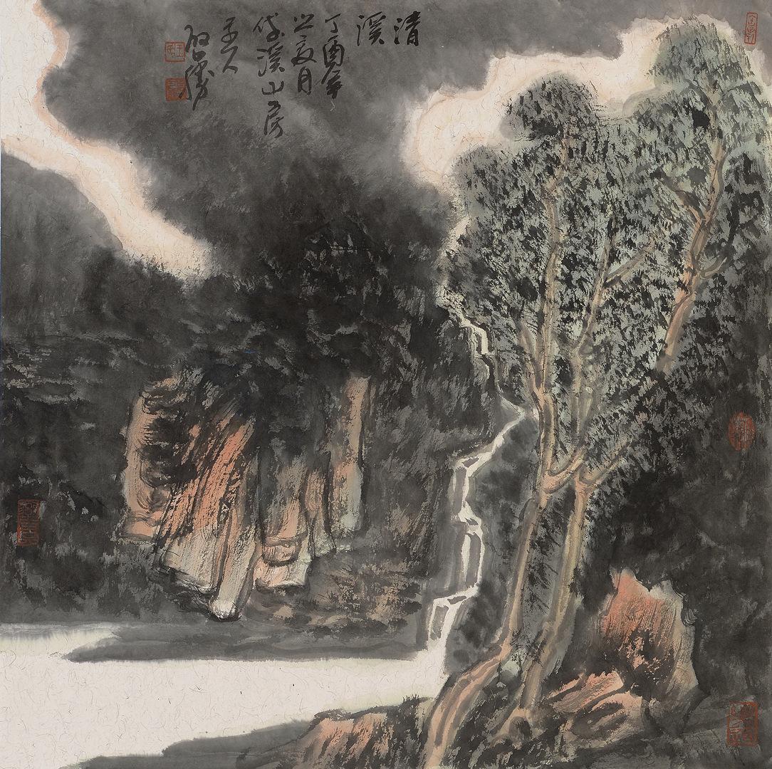 《清溪·2》68x68cm 写意山水 纸本水墨 2017年
