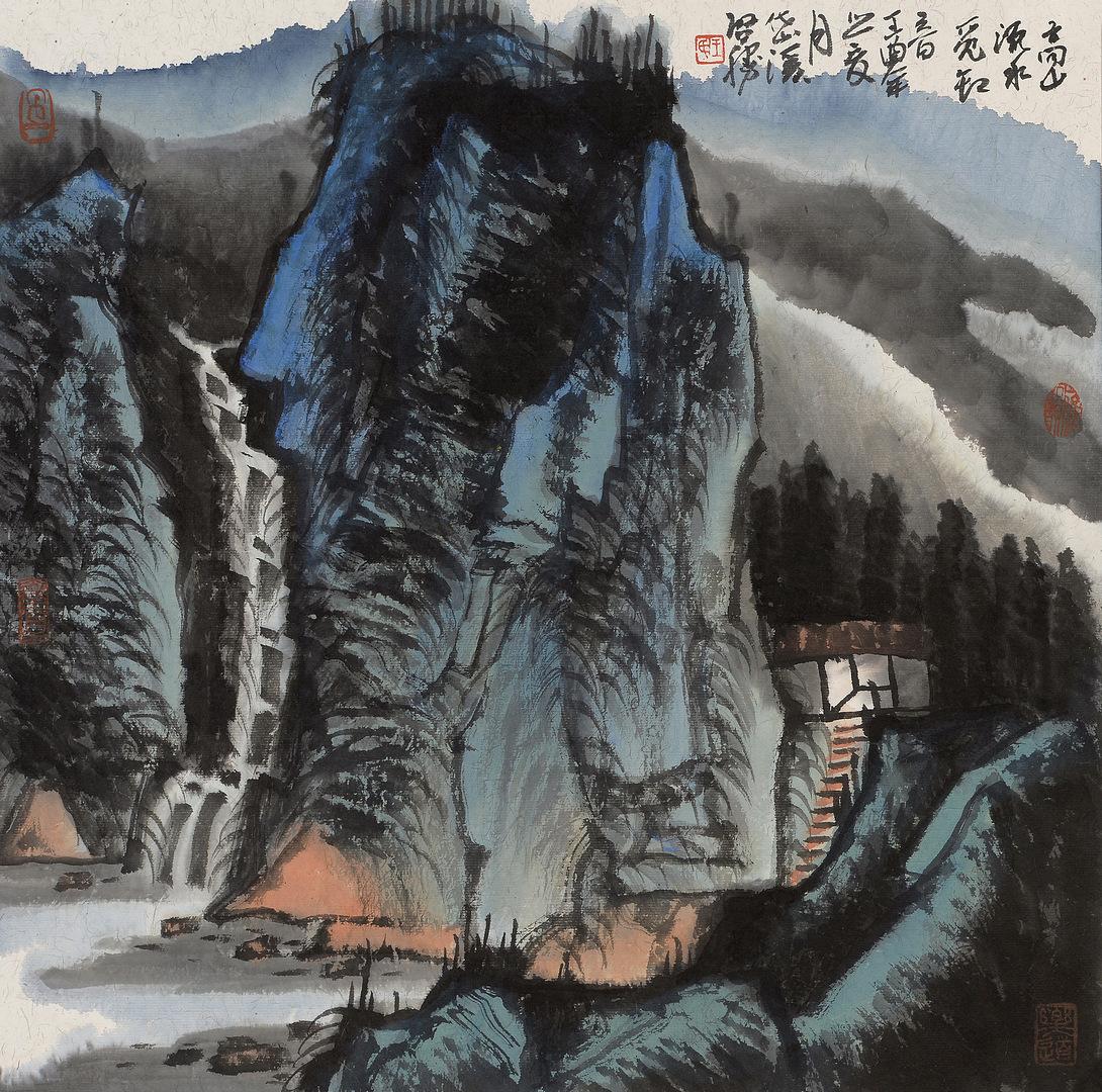 《高山源水觅知音》68x68cm 写意山水 纸本水墨 2017年