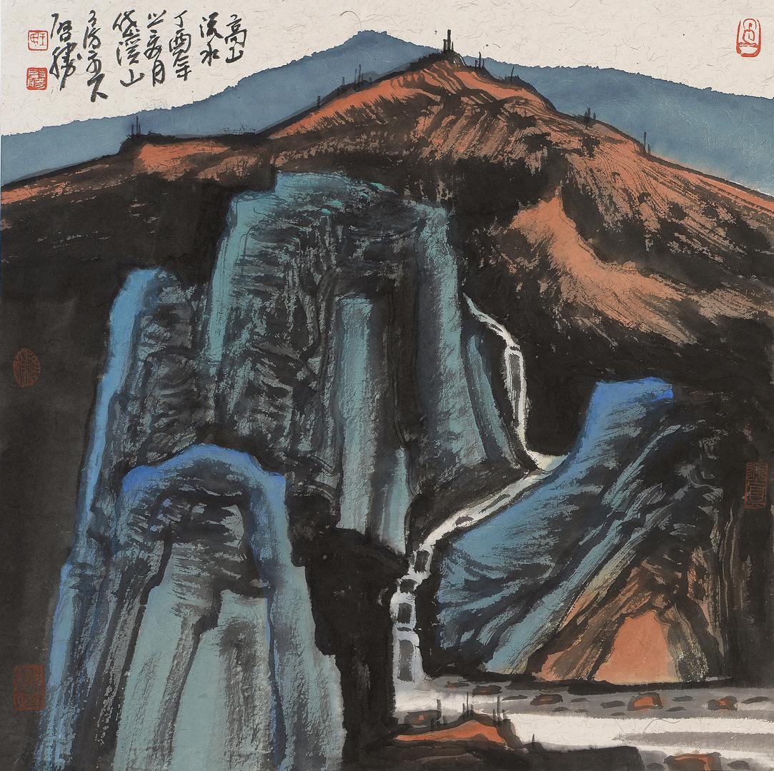 《高山溪水》68x68cm 写意山水 纸本水墨 2017年