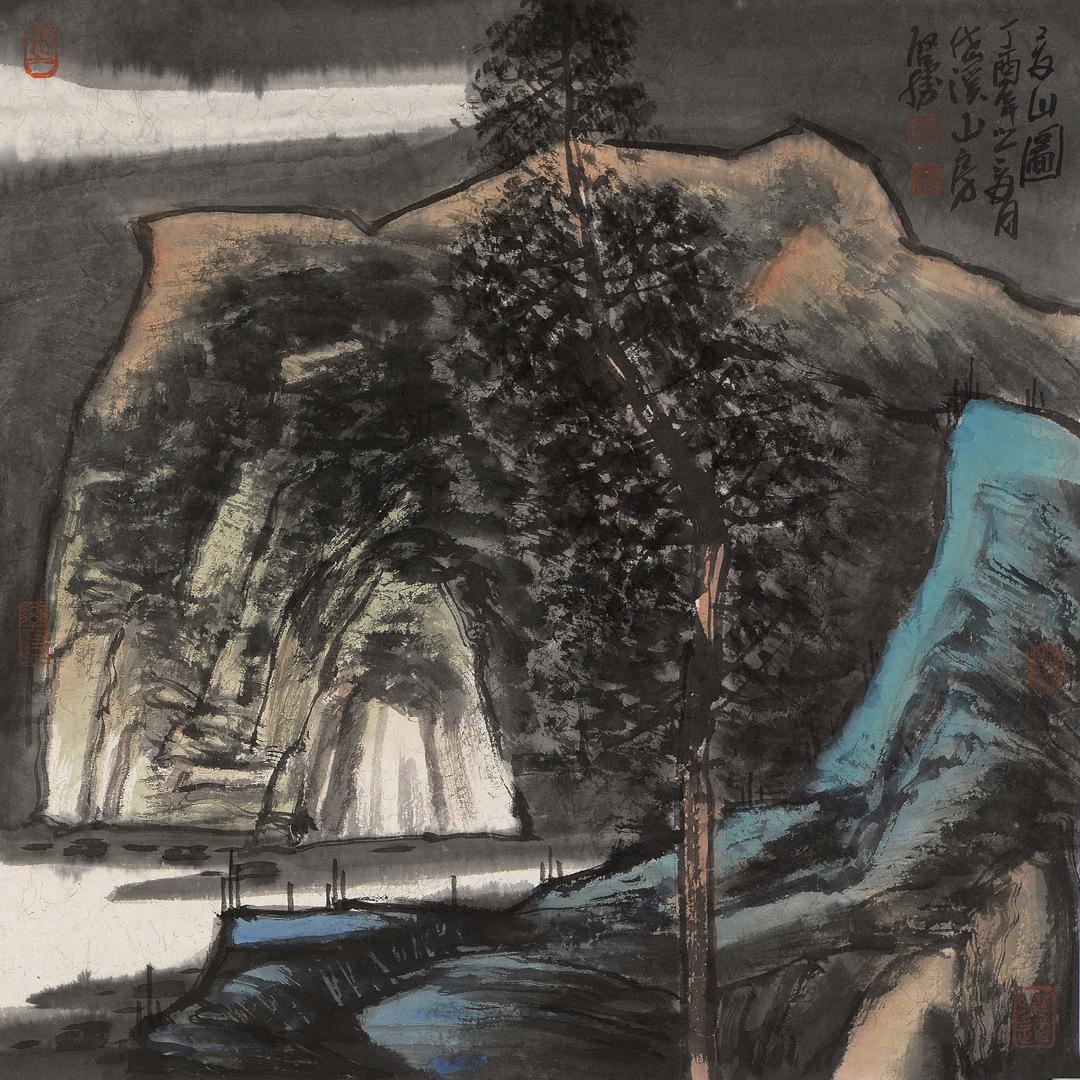 《高山图》68x68cm 写意山水 纸本水墨 2017年