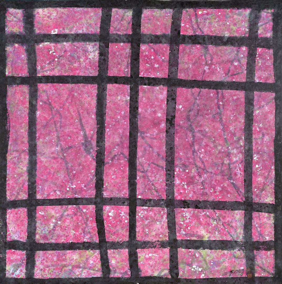 《窗外桃花》100x100cm 意象桃花 纸本水墨 2016年