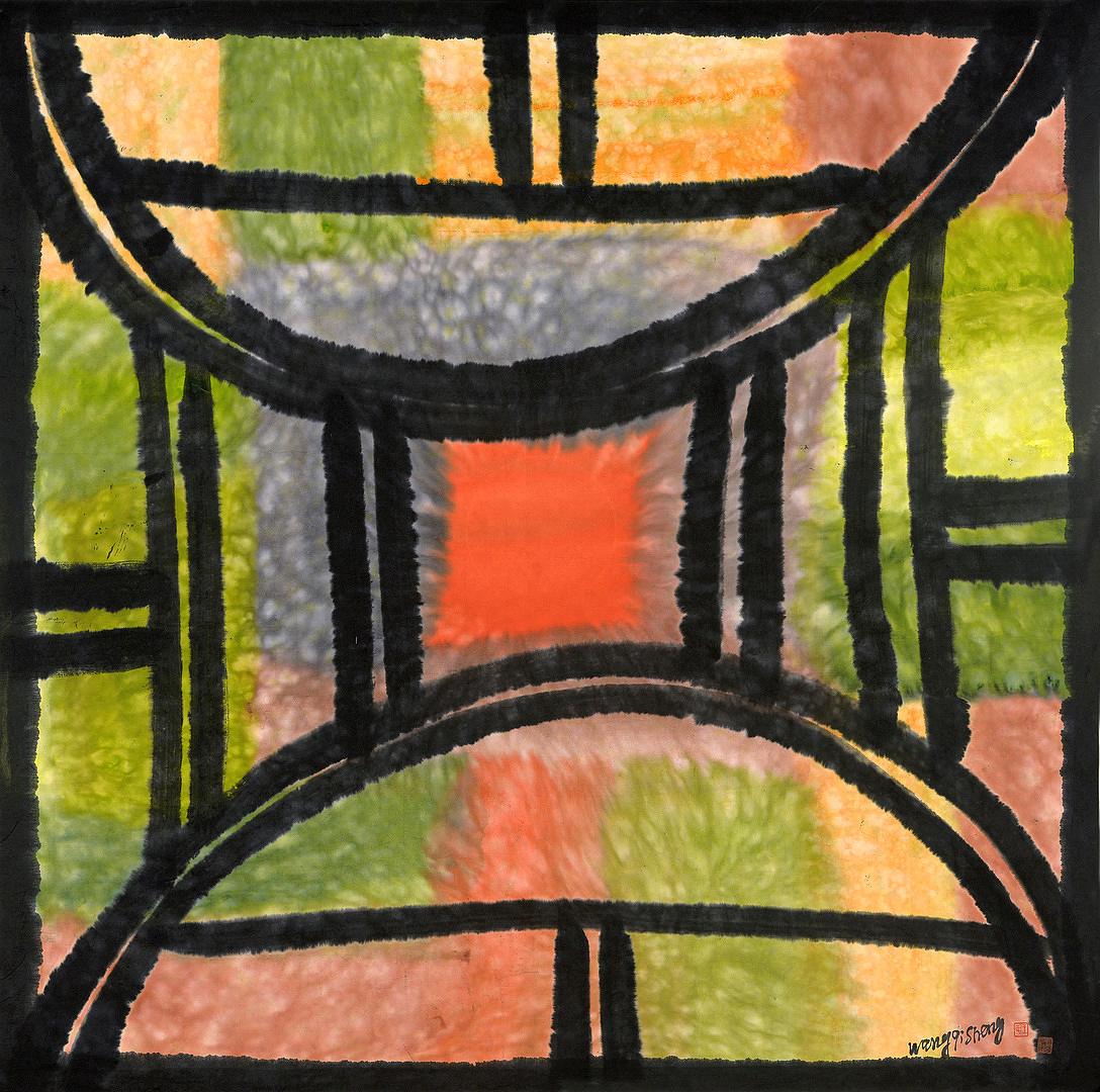 《窗外秋色》100x100cm 意象系列 纸本水墨 2016年