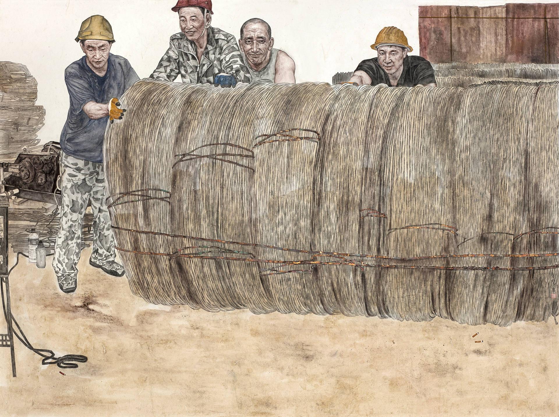 《洪荒之力·乐活》165x200cm 人物 纸本设色 2018年 国展作品