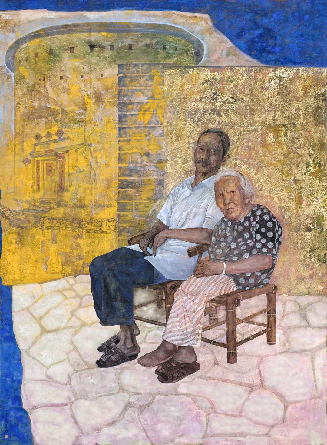 《人约黄昏后》160x220cm 国画重彩 纸本设色 2016年 国展作品