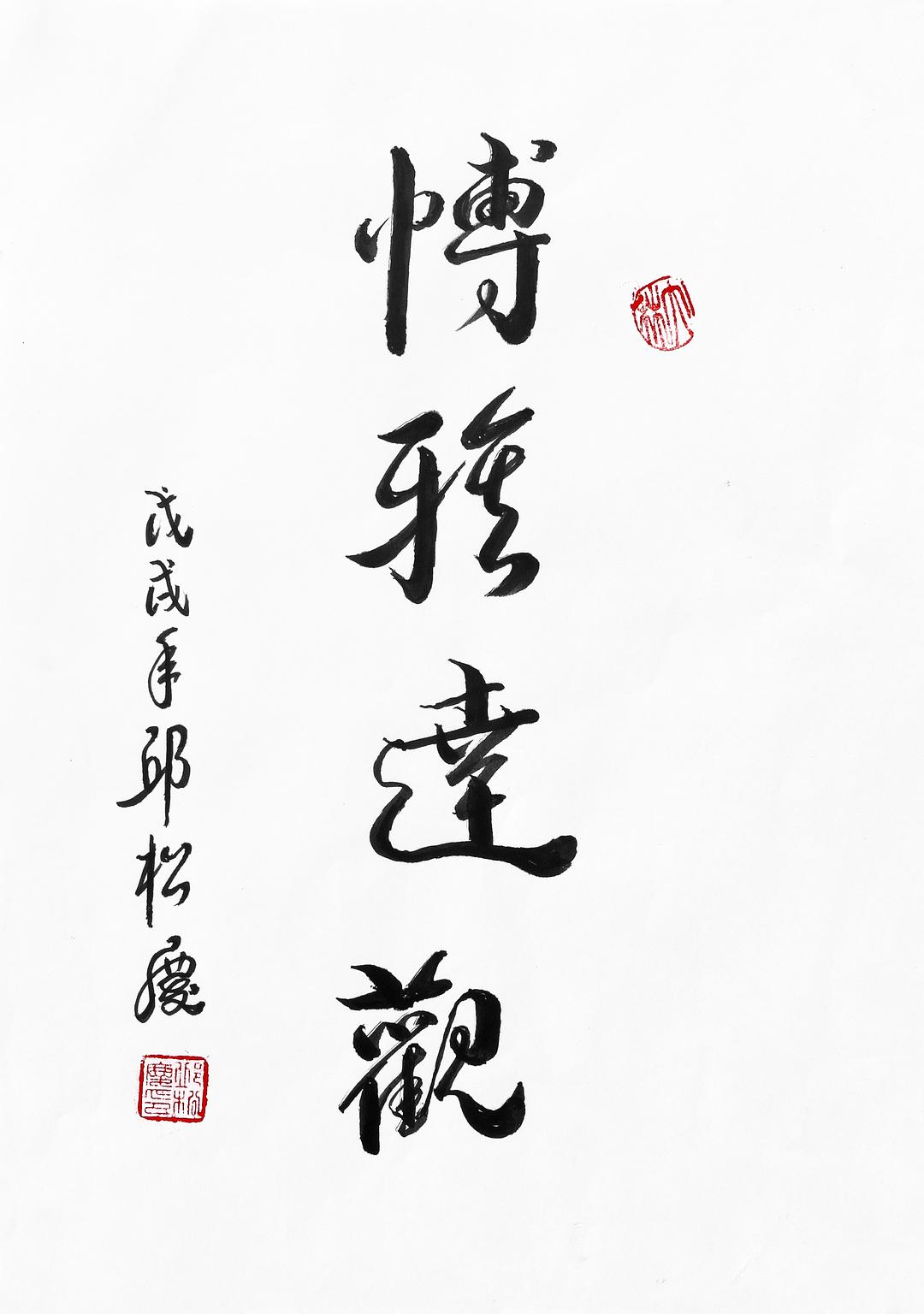 《博雅达观》29.7x21cm 行书 纸本墨笔 2018年