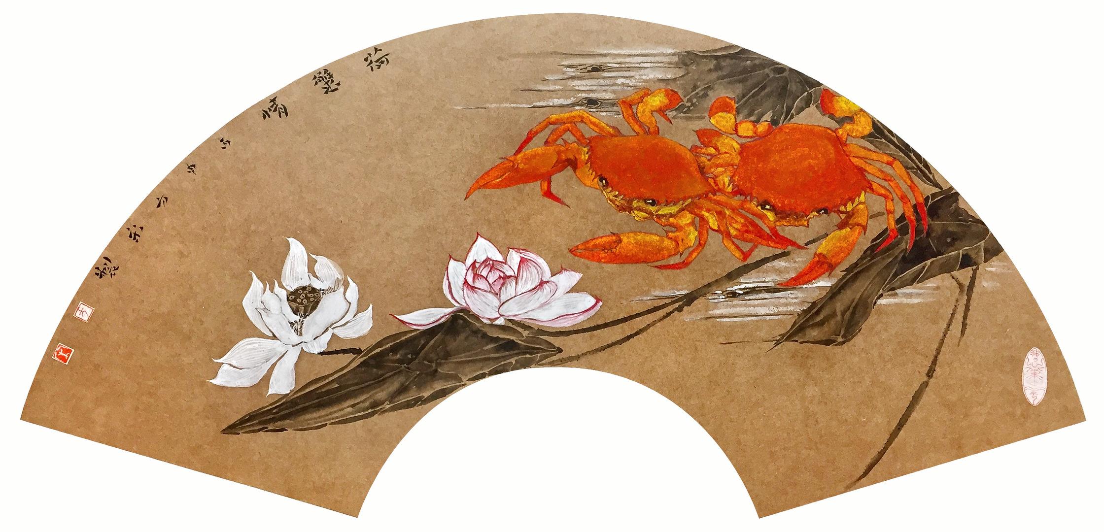 《荷蟹情》25x60cm 岩彩纸本设色 扇面 2016年