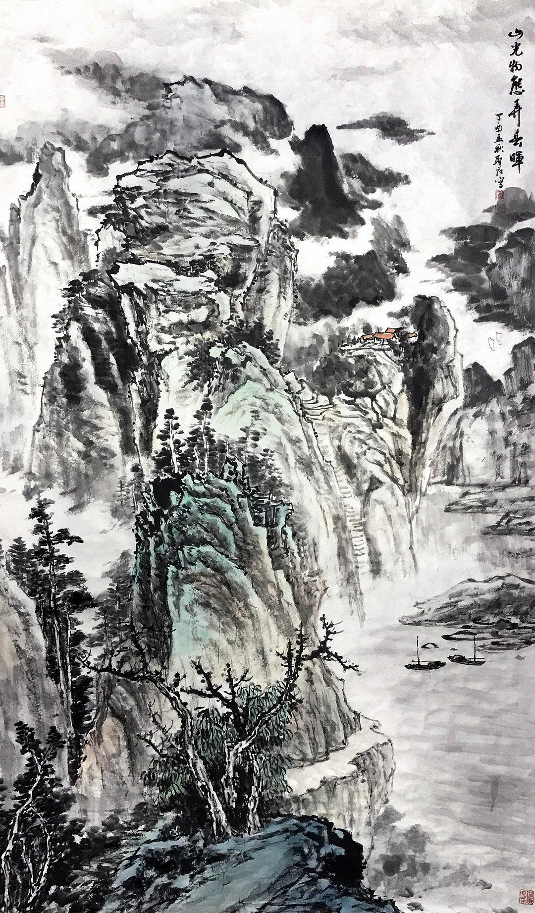 《山光物态弄春晖》写意山 纸本水墨设色 2017年